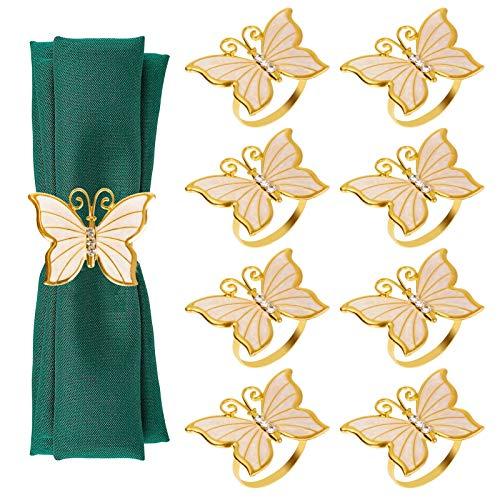 Dongzhur Gold Napkin Rings Set of 8, Butterfly Napkin Ring Holders, Napkins Rings for Easter, Wedding, Holidays, Dinner Decor Favor (Golden)