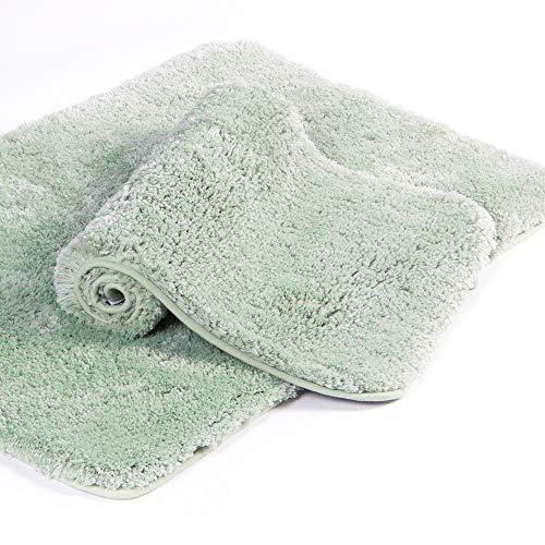 Walensee Shaggy 2 Piece Bath Rug Set, (20 x 32, 2 Pack Set, Pale Green) Bathroom Rug Set Bath Mats for Bathroom Machine Wash/Dry Absorbent Bathroom Mats Set Non Slip Plush Rug Sets for Shower