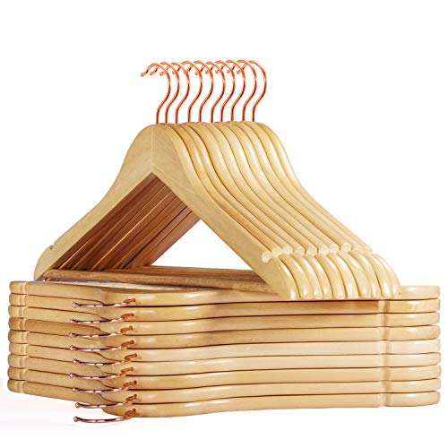 Smartor Wooden Hangers 20 Pack Wood Coat Hangers Rose Gold Hook Heavy Duty Clothes Hangers Natural Smooth Finish Premium Wood Hangers for Closet Hangers Suit Natural
