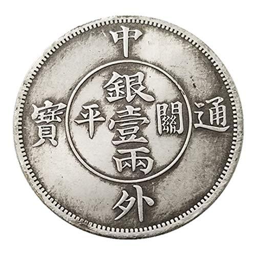 Ccyyy Moneda de Plata Antigua China y extranjera tongbao una o Dos Monedas conmemorativas de Plata latón Plateado Monedas de Plata