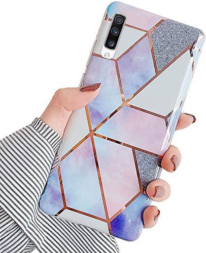 Uposao Kompatibel mit Samsung Galaxy A70 Hülle Silikon Durchsichtige Schutzhülle mit Muster Motiv Marmor Hülle Weiche TPU Slim Stoßfest Ultra Dünn Handyhülle Backcover Tasche,Rosa Lila
