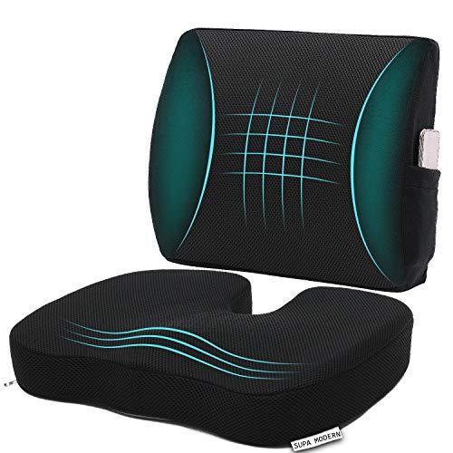 Memory Foam Autositzkissen und 3D Mesh Lendenwirbelstützkissen, Steißbein-Orthopädisches Sitzkissen für Bürostuhl, Lendenwirbelstütze, Rückenkissen zur Linderung von Schmerzen im unteren Rücken