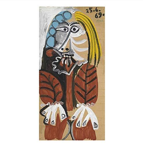 Suuyar Pablo Picaso Berühmte Kunst Gemälde Drucken Auf Leinwand Kunst Poster Und Drucke Abstrakte Frau Wandkunst Bilder Wohnkultur-60X120Cm Kein Rahmen