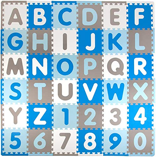 Tadpoles Soft EVA Foam 36 Piece ABC Playmat Set, Blue/Grey, 74x 74 (36 Sq Feet)