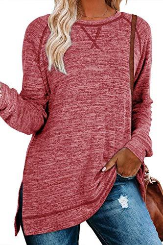 FANGJIN tunika damska sweter z długim rękawem zimowa sukienka przytulny sweter nastolatek dziewczyny koszulki długa odzież kobiety bluzki czerwony M