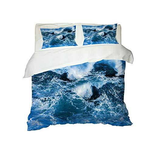 PERFECTPOT Duvet Cover Set Double Size Waves Pattern 3 pcs with Zipper Closure Microfiber Bedsure Printed Duvet Cover Quilt Bedding Set with 2 Pillowcases, 200 x 200 cm