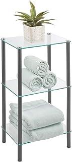 mDesign étagère salle de bain moderne avec pieds en métal – valet de douche en verre à 3 niveaux – étagère de bain, bureau...