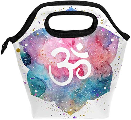 Lunch box forLunch Tote Bag with Om Buddha Print- Insulated Reusable Lunch Box, Thermal Colder Lunchbox for School Work Office