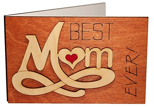 Real Wood Best Mom Ever Forever Love Inspiring Greeting Card Novelty Happy Birthday Mothers Day Gift Get Well Thank You Wooden Present for Mommy Step God Mother from Baby Husband Son Daughter Child e