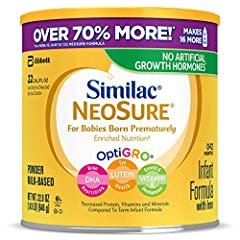 Similac Is the First Leading Infant Formula Brand with No Artificial Growth Hormone (No Significant Difference Has Been Shown Between Milk Derived from rbST-Treated and Non-rbST-Treated Cows) Similac NeoSure Promotes Excellent Catch-Up Growth in Your...