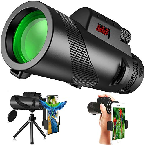 BaBoBi Monocular Telescope with Tripod Stand & Phone Holder, BAK4 Prism FMC, 12x42 HD Optics Zoom Scope for Smart Phone, Bird Watching, Hunting, Traveling, Concert, Camping, Wildlife Secenery and More