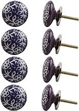Indian-Shelf Handmade Ceramic Etched Wardrobe Knobs Door Pulls Dresser Handles(Purple, 1.75 Inches)-Pack of 8