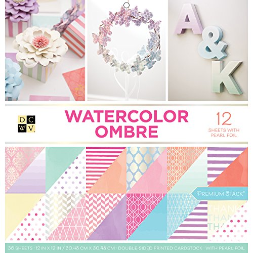 DCWV Card Stock 12'X12' Watercolor Ombre Premium Printed Cardstock Stack