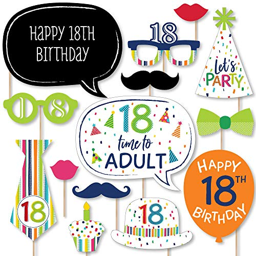 Big Dot of Happiness 18th Birthday - Cheerful Happy Birthday - Colorful Eighteenth Birthday Party Photo Booth Props Kit - 20 Count