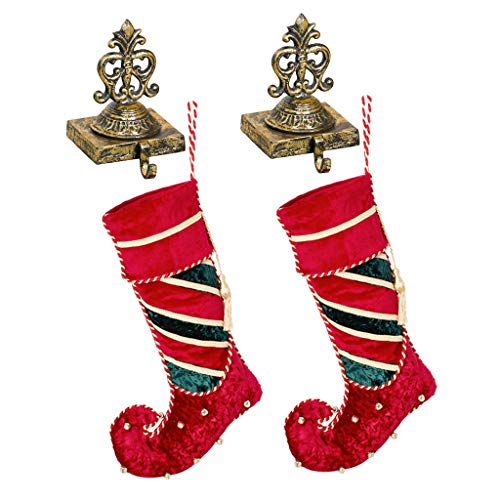 2lusso calza di Natale set regalo (calza H22x w11.5inch/Holder H7x W4pollici) fatto a mano in velluto Jingle Bell Elf Boot calze (più grande) e riciclato anticata in ghisa ornato oro antico rifinito a mano stile vittoriano Crown calza appendiabiti–festive Home decorazione per camini/davanzale/camino–perfetta alternativa al tradizionale–Gancio per calza, ideale per coppie di Natale