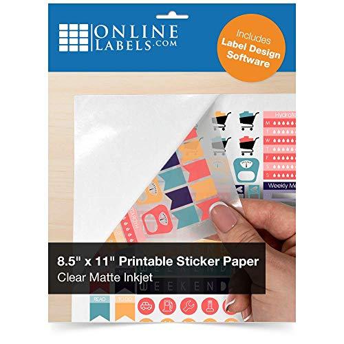 Clear Matte Frosted Sticker Paper, 8.5 x 11 Full Sheet Label, 10 Sheets, Inkjet Printer, Online Labels