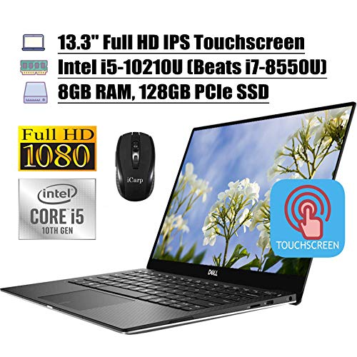 Dell XPS 13 7390 Laptop Computer 13.3' FHD IPS Touchscreen Intel Quad-Core i5-10210U 8GB DDR4 128GB PCIe SSD Backlit KB FP MaxxAudio Win 10 (Renewed)