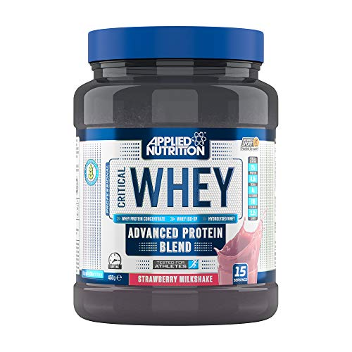 Applied Nutrition Critical Whey Protein Powder Shake, Gold Muscle Building Supplement with Glutamine & High Standard Amino Acids, BCAA 450g - 15 Servings (Strawberry Milkshake)