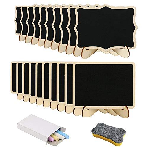 20 pcs mini pizarra de Libershine rectángulo de madera para decoración de marco, cafetería,la pared,las plantas, oficina