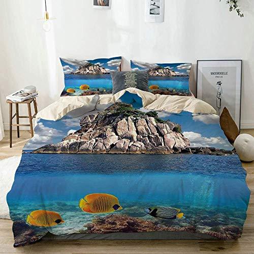 Popun Juego de Funda nórdica Beige, paraíso Tropical, corales, Peces, Isla pequeña rocosa, Isla KOH Tao, Tailandia, Juego de Cama Decorativo de 3 Piezas con 2 Fundas de Almohada