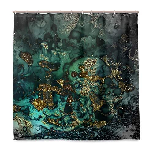 Duschvorhang Gold Indigo Malachit Marmor Polyester Stoff mit waschbar Heavy Duty für Badezimmer mit 12 Haken 182,9 x 182,9 cm