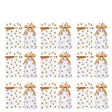 DINGJIN 50 Pack Gold Polka Dot Drawstring Candy Bags Plastic Favor Bag Drawstring Cookie Bags for Christmas Wedding Party Birthday Engagement Christmas Holiday Favor
