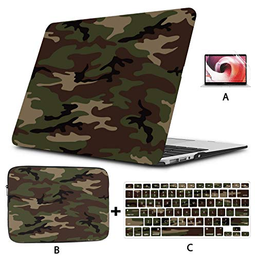 Macbook A1466 Case Army Camouflage Macbook Accessories 13 Inch Hard Shell Mac Air 11'/13' Pro 13'/15'/16' With Notebook Sleeve Bag For Macbook 2008-2020 Version