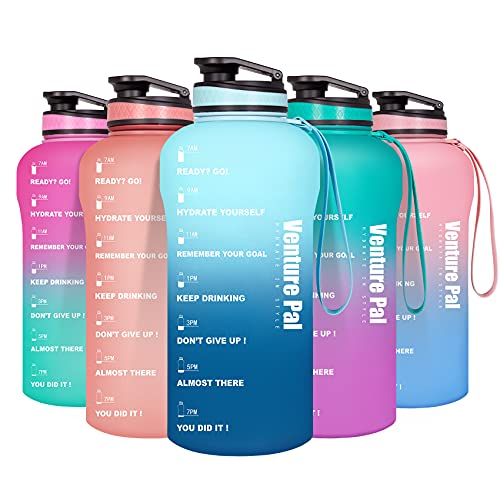Venture Pal Half Gallon/64oz Motivational Water Bottle with Time Marker & Removable Strainer, Leakproof BPA Free Water Jug to Remind You Drink More Water, Hydrate in Style-Green/Blue Gradient