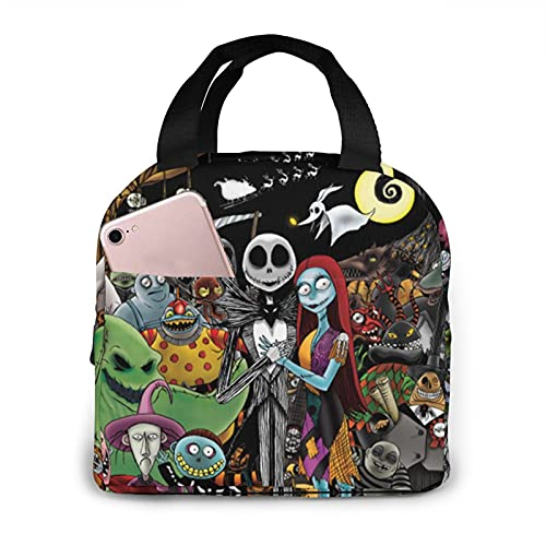 Nightmare Before Christmas Lunch Bag Portable Insulated Lunch Box, Waterproof Tote Bento Bag For Office School Hiking Beach Picnic Fishing