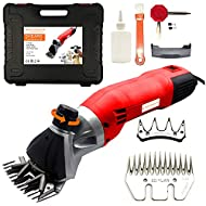 500W Electric Animal Shears - 6 Speed Shearing Machine for Sheep, Lamb, Goat, Llama, Alpaca & Livestock Grooming, Complete Wool Clipper Kit & Bonus Cutter Blade Set - Heavy Duty Professional Trimmer