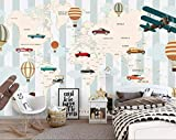 Murales de pared para habitación de niños, papel pintado 3D, avión, vela, animal, mapamundi, aire caliente, globo de fondo, 450 x 300 cm