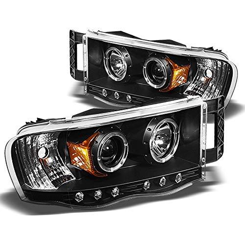 Xtune 2002-2005 Dodge Ram Twin Halo LED Projector Headlights Black Head Lights Lamp Pair Left+Right 2003 2004