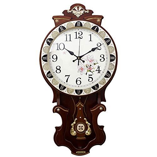 KIWG Vintage Wandklok, Houten Pendulum Wandklok, Vintage Industriële Wandklok, 80Cm-42Cm, Retro Pendulum Klok Antieke Hout, Bruin