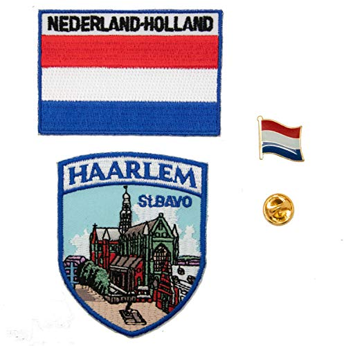 A-ONE 3 Stück – The Netherlands Haarlem St. Bayern Kirche Stoffpatch + Holland Bügelbild + Nerderland-Flagge Metall Reversnadel Sehenswürdigkeit besticktes Abzeichen Emaille Pin