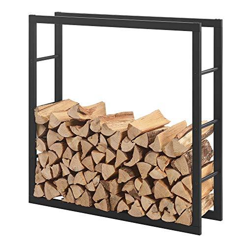 [en.casa] Kaminholzregal 100x100x25cm Brennholzregal Feuerholzregal Holzhalter