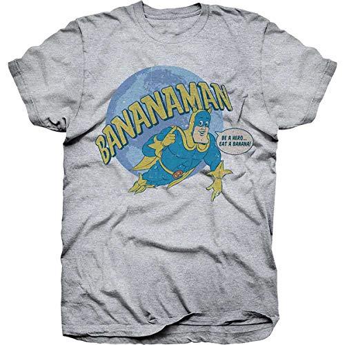 Bananaman Flying Over Globe T-shirt, Grey, S, XL, XXL
