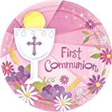 Pink First Communion Round Dinner Paper Plates Religions Party Disposable Tableware and Dishware, 10 1/2', Pack of 18.