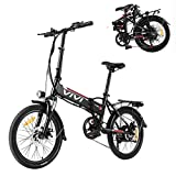 Vivi 20' Folding Electric Bike for Adults,350W Electric Commuter Bicycle with 36V 8AH Lithium Ion Battery,Dual Disc Brakes (Black & Red)
