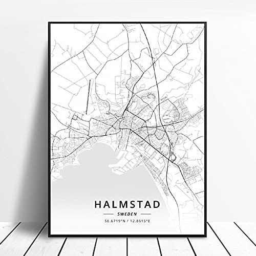 Lund Halmstad Stockholm Tumba Östersund Örebro Jonkoplng Sweden Canvas Art Map Poster ?ZQ-1701? Ingen ram poster 40x50cm