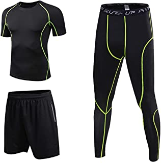 Lixada 3 Pcs Men's Workout Set with Compression T-Shirt, Loose Fitting Shorts and Tight Leggings Pants for Running Cycling Basketball Yoga Hiking Gym Work Out