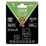 Amplim 256GB Micro SD Card Plus Adapter. MicroSD SDXC Memory Card Pack (100MB/s 667X V30 A1 Class 10 U3 UHS-I) 256 GB MicroSDXC TF Card Flash - Cell Phone, Drone, Camera, GoPro, Fire, Nintendo, DJI