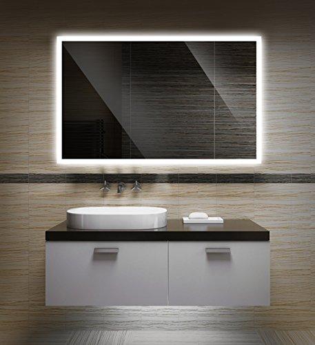 Badezimmerspiegel mit Beleuchtung LED Spiegel - 50x40 cm - Badspiegel mit Licht - Design Spiegel für Bad und Gäste WC hinterleuchtet - beleuchteter Wandspiegel Rahmenlos - OW-LED