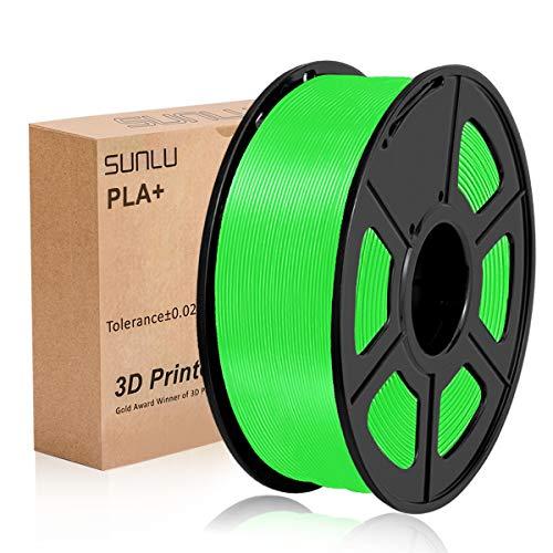 Filamento per stampante 3D SUNLU PLA Plus 1,75 mm Bobina da 1 kg, filamento PLA+ Verde 1,75 +/- 0,02 mm per la stampa 3D