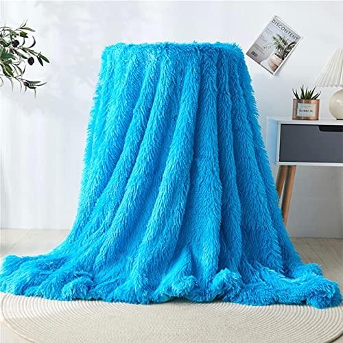 Chic Shaggy Manta de felpa suave colcha en la cama manta cálida mullida piel sintética gris arco iris mantas para camas sofá manta