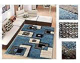 Alfombra de Salón Frise Pelo Largo Tupido Cuadrados Geometricos Modernos Color (Turquesa, 160_x_210 CM)