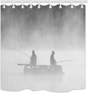 NYMB People Fishing Silhouettes in The Fog Shower Curtain, Polyester Fabric Fisherman Bathroom Fantastic Decorations Nautical Fishing Bath Curtains Hooks Included