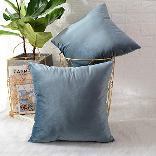 MERNETTE Pack of 2, Velvet Soft Decorative Square Throw Pillow Cover Cushion Covers Pillow case, Home Decor Decorations for Sofa Couch Bed Chair 18x18 Inch/45x45 cm (Grey Light Blue)