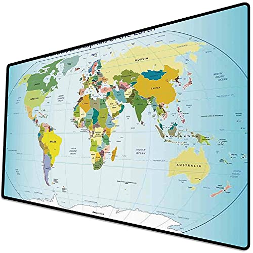 Alfombrilla de ratón (600x300x3 mm) Wanderlust Decor, Mapa del Mundo con países y Capitales de la Tierra con Arte gráfico de océanos Superficie Suave y cómoda de la Alfombrilla de ratón para Juegos