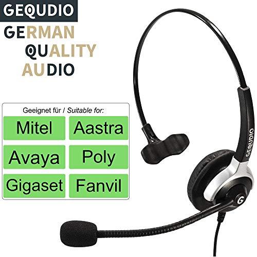 Auricular con micrófono para Mitel®, Avaya®, Polycom® y Gigaset® teléfonos con conector RJ   60 g de peso