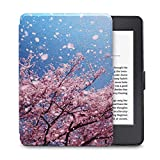 Fan Song Case for Kindle Voyage, PU Leather Slim and Thin Protective Smart Cover with Auto Sleep/Wake Up Function for Amazon Kindle Voyage 2014 (Flower 1)